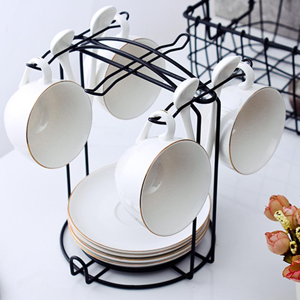Innovative Multiple Hooks Mug Holder Glass Cup Rack Tea Black Coffee Anti-Rust Coated Steel Display Stand