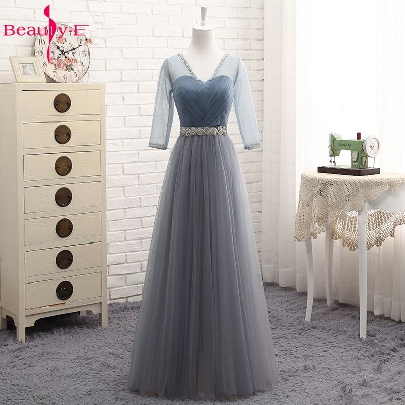Beauty-Emily Hot Tulle V Neck Evening Dresses Long For Women 2020 Elegant Formal Party Dress A-line Prom Gown Plus size Vestido 2