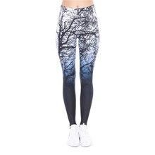Nouveau Design femmes Legging arbres impression bleu Fitness Leggings mode taille haute femme pantalon
