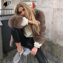 Fashion Womens Blue Fox Fur Coat Winter High Quality Outerwear Clothing Customized Whole Skin Natural Real Coats FC-028