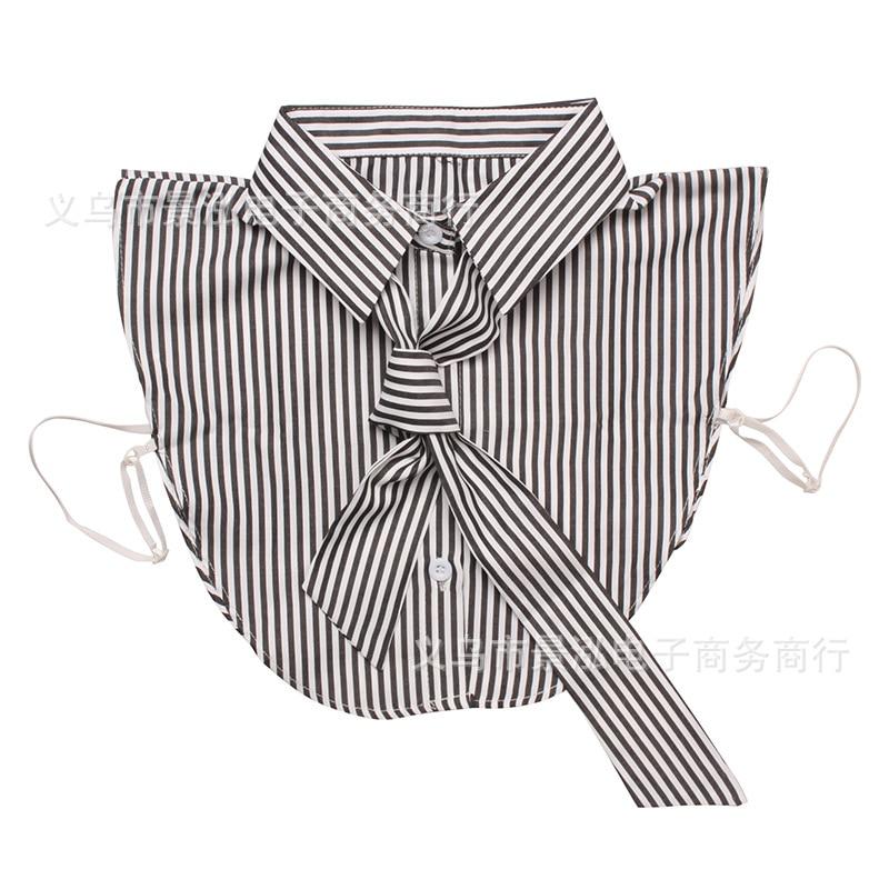 Vertical Striped Pure Cotton Versatile Fake Collar All Seasons Temperment Shirt Collar Colar