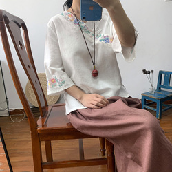 National style embroidered jacket Chinese style retro cotton and hemp blouse female short cuff