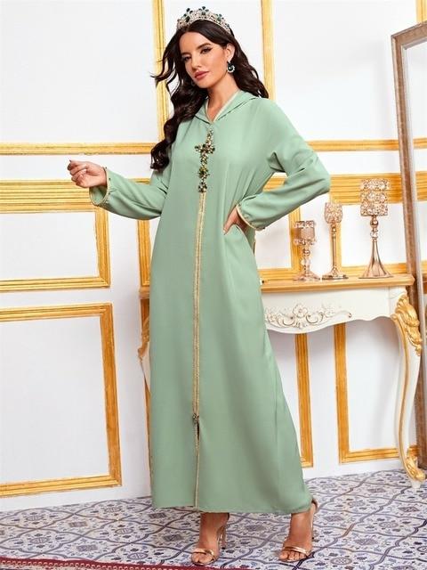 Hooded Kaftan Dress for Women Fashion Ethnic Hand Stitch Diamond Ribbon Trim Moroccan Dubai Turkey Arabic Clothes Eid 5