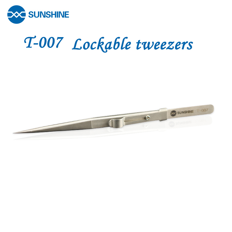 Stainless Steel Maintenance Tweezers Can Lock SUNSHINE T-007 Sharp Elbow Tweezers Precision Medical Long Tweezers Clip