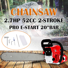 1Set 52CC New More Power Engine Petrol Chainsaw With 20'' Bar Chain Handle+Saw Repair Tool Wood Cutting Machine new 52cc long reach pole chainsaw petrol chain saw brush tree cutter pruner with 2x75cm extend pole factory selling