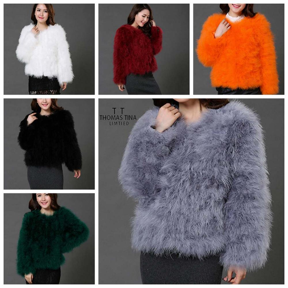 Thomas Tina Genuine Real Ostrich Fur Jacket O-neck Clollar Women Coat Causal Turkey Fur Wool Feather Outwear Lady Gray Size Plus