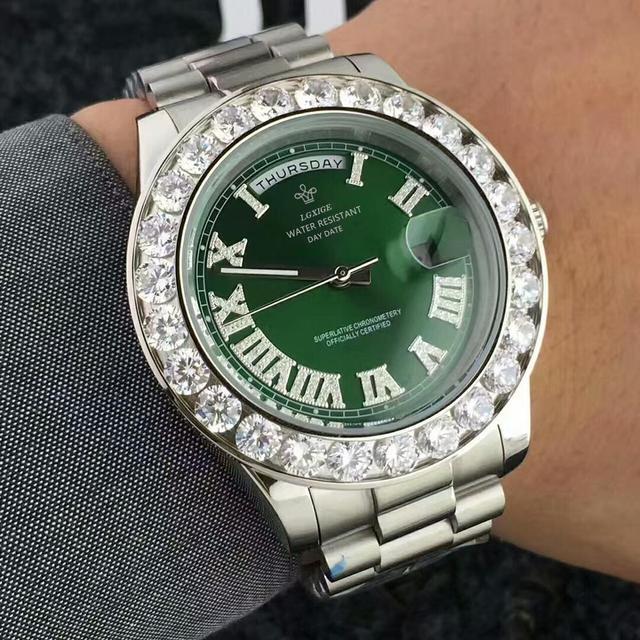 LGXIGE Men's Big Diamond Luxury Roman Numbers Stainless Steel Calendar Date Display Waterproof Watches 6