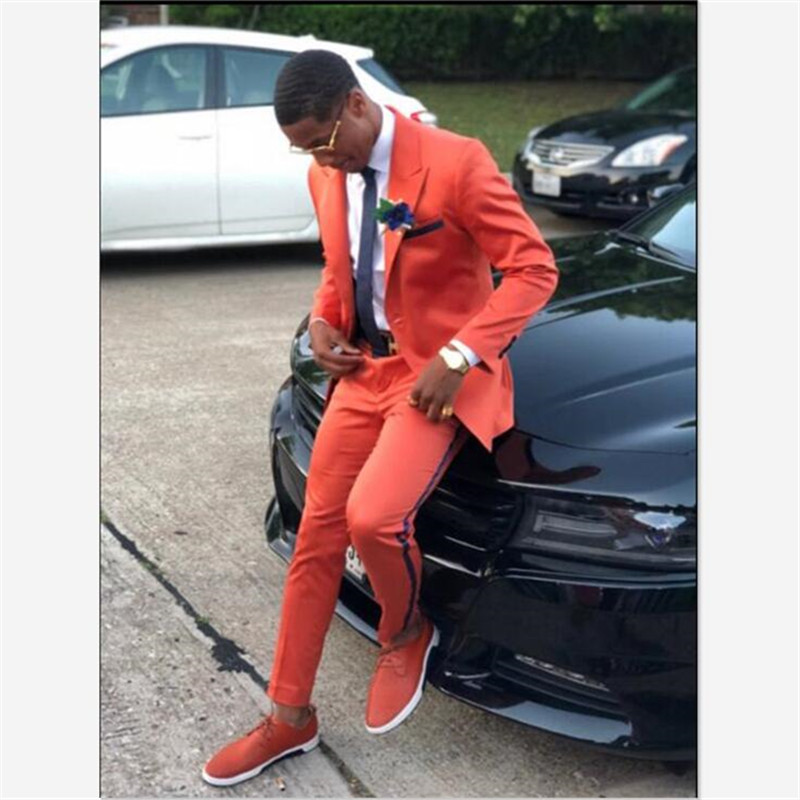 Mens Suits (Jacket+Pants) Latest Designs Orange Casual Slim Fit 2 Piece Tuxedo Tailor Groom Prom Party Blazer Masculino