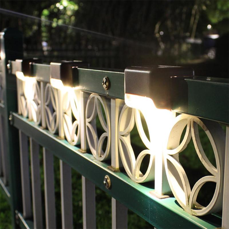 4Pcs LED Solar Deck Lights Waterproof Outdoor Pathway Yard Stairs Fence Lamps Garden Outdoor Solar Power Buried Light Lawn Lamp