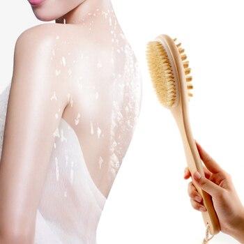 35cm 2-em-1 Facas Naturais Cerdas Escova Purificador Cabo de Madeira SPA Escova de Banho Escova de Banho Escovas de Massagem Corporal Voltar Limpeza Fácil 1