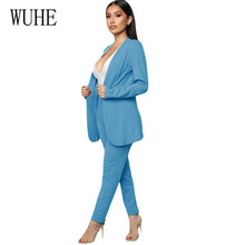 WUHE Work Pant Suits OL 2 Piece Sets Casual Solid Women Blazer Jacket & Trousers Suit for Autumn High Quality