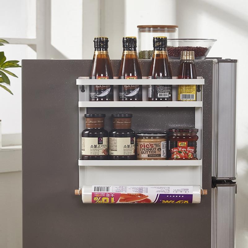 Side-mounted Magnet Refrigerator Rack Wrought Iron Storage Rack Kitchen Hanging Towel Storage Organizer Shelf Fridge Organizer