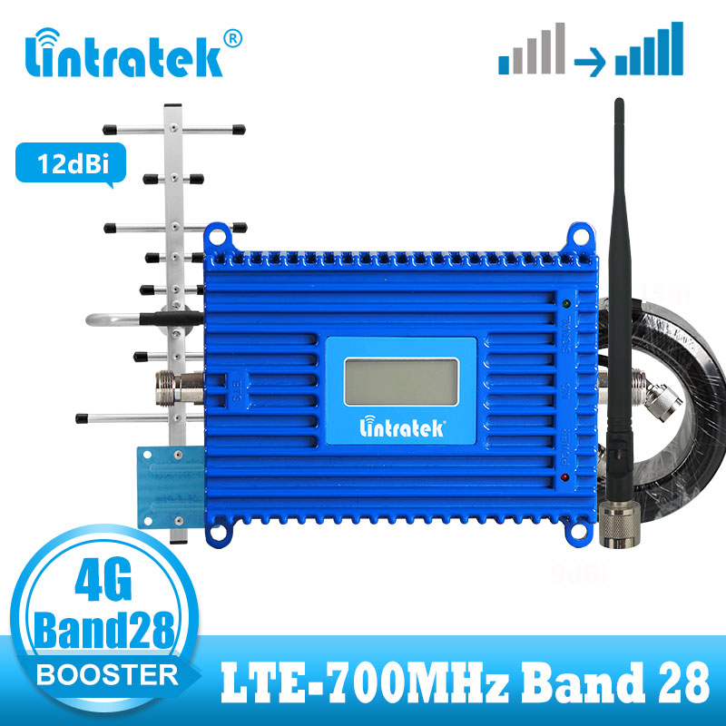 Lintratek B28 4G LTE 700 Mhz Cellular Amplifier LTE 4g Internet Signal Booster Cellphone Repeater + 12dBi Yagi Antenna Kit