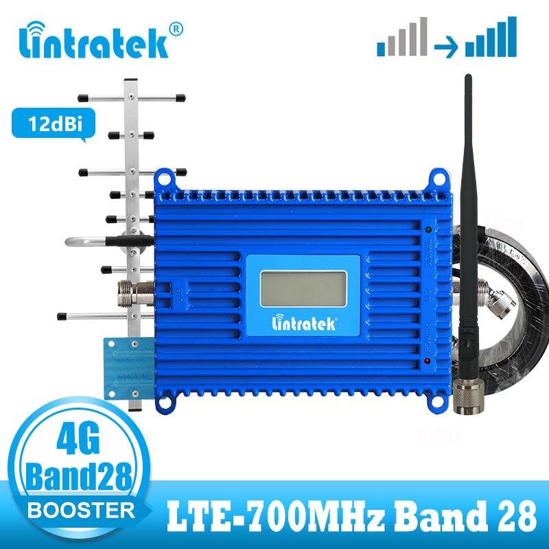 Усилитель сотовой связи Lintratek B28, 4G LTE, 700 МГц, LTE, 4g, бустер интернет-сигнала, ретранслятор сотового телефона + комплект антенн yagi 12dBi
