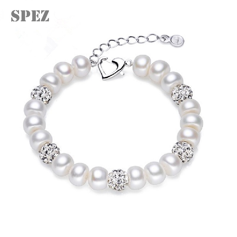 100% Natural Freshwater Pearl Bracelets For Women Fashion Jewelry Heart Clasp 18cm + 4cm extend chain SPEZ