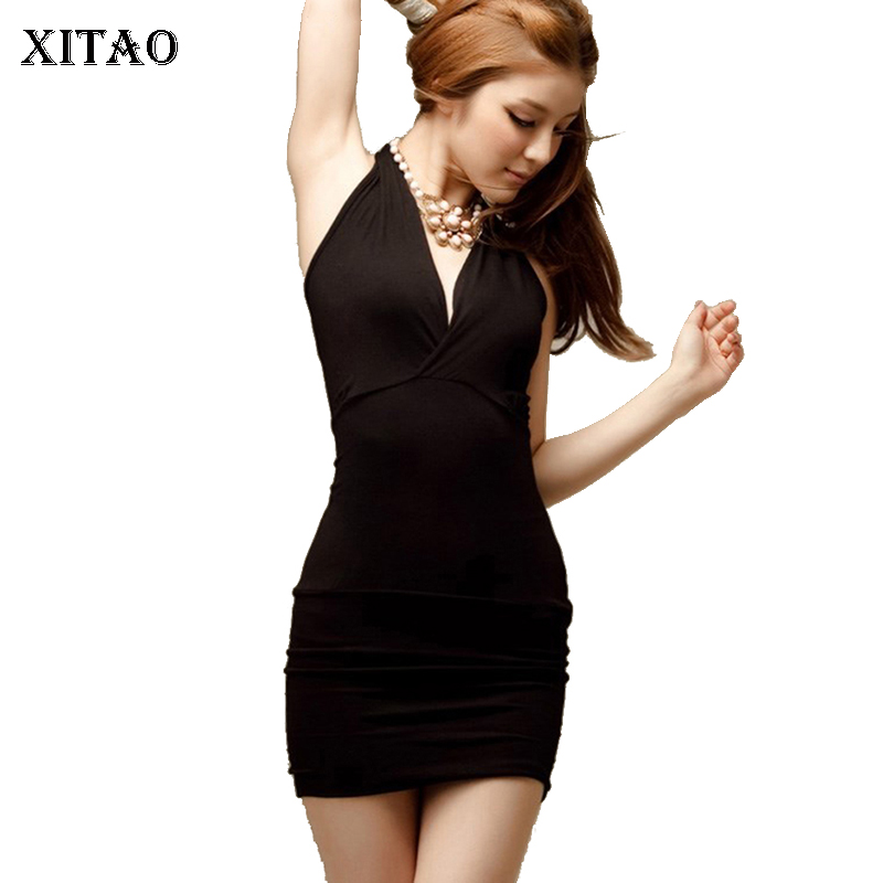 XITAO Off Shoulder Sexy Bodycon Dress for Women Summer Plus Size Sexy Party Night Sexy Mini Dress XXXL High Elastic Clearance(China)