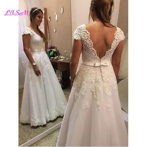 Свадебное платье с v-образным вырезом и рукавами-крылышками; ТРАПЕЦИЕВИДНОЕ кружевное платье с аппликацией в пол; Свадебное платье с поясом; Сексуальное платье с открытой спиной; Vestido De Noiva