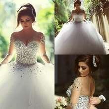 Роскошные бальные платья с длинными рукавами и кристаллами;