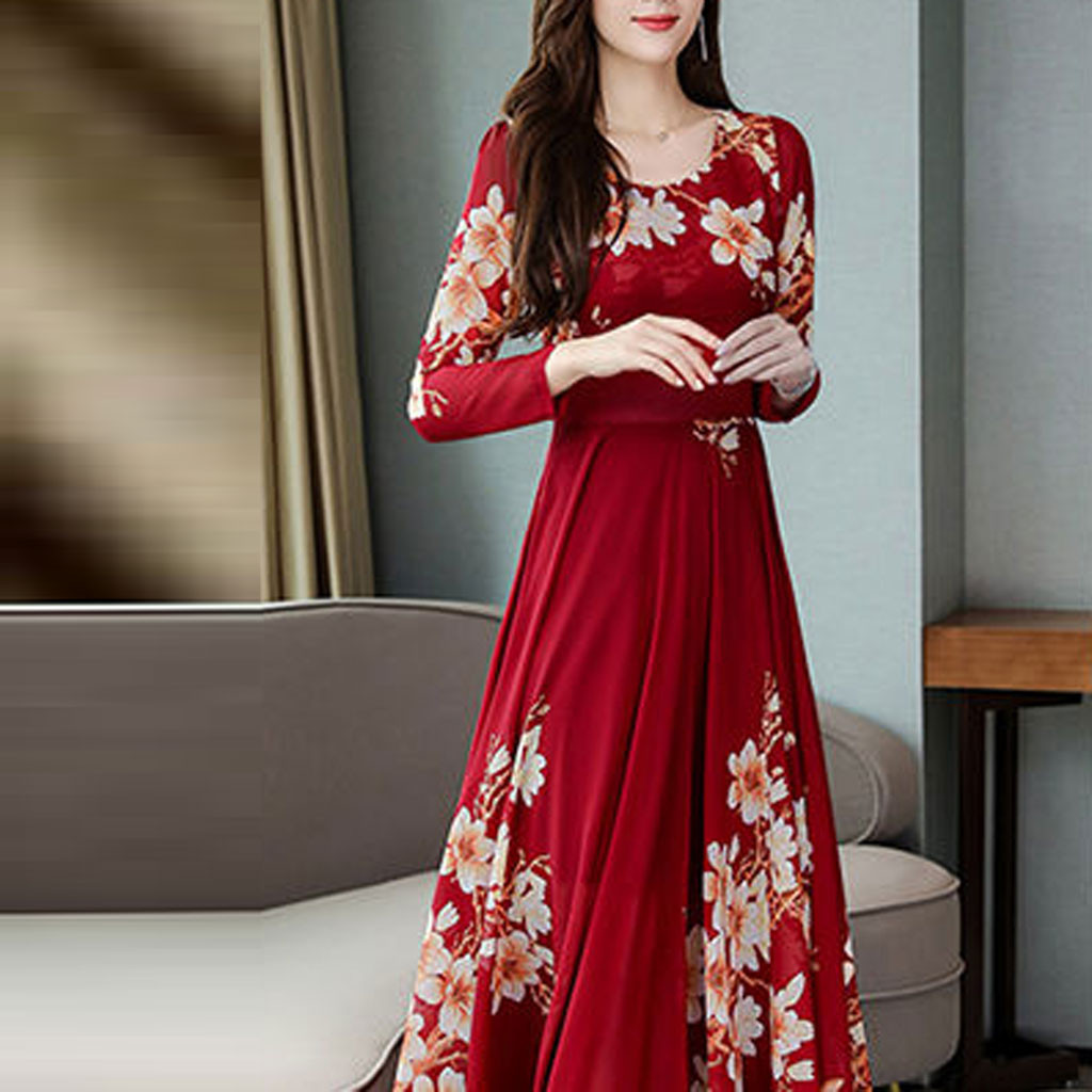 Women Floral Long Sleeve Chinese Style Long Dress Fashion Party Formal Dresses