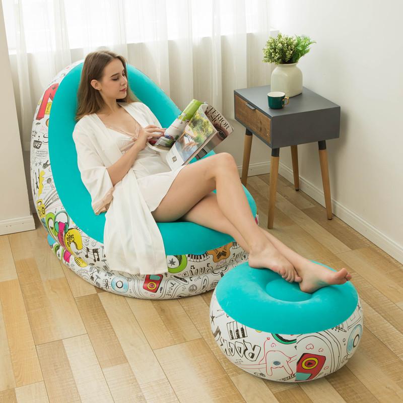 Simple 2 Set Macarone printed Portable Sofa Modular Inflatable Chair Garden Lazy Outdoor Beach Inflatable Bed Outdoor Furniture