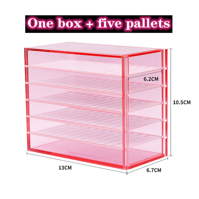 5 Layers Lash Boxes Transparent Eyelash Extension Storage Box Organizer Acrylic Lash Pallet Holder Case Grafting Eyelash Display