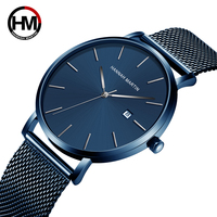 Hannah Martin top Brand Japan Quartz Movement Waterproof Wristwatches Fashion business Luxury Ultra Thin date male Watches relog