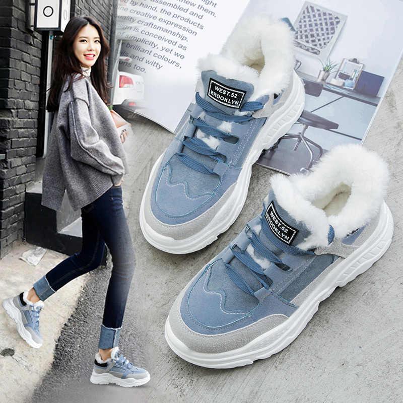 2019 Schoenen Winter Warm Platform Vrouw Snowboots Pluche Vrouwelijke Casual Sneakers Faux Suede Leer Vrouwelijke Snowboots Warme Schoenen Bont