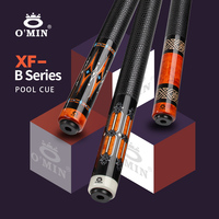 OMIN XF B1 3 Billiard Pool Cue 12.8mm Tip Carbon Tube 55cm Leather Grip Adjustable Weigh Bolt Billiard Stick Kit with Extension