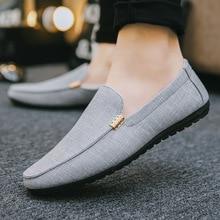 Moccasins erkekler rahat ayakkabılar KPOCCOBKN Slip on kanvas ayakkabılar erkek mokasen ayakkabıları
