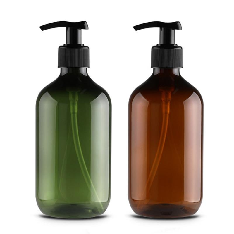 500ml Clear Press Pump Brown Empty Bottle Refillable Shampoo Lotion Liquid Soap Dispenser ContainerS313