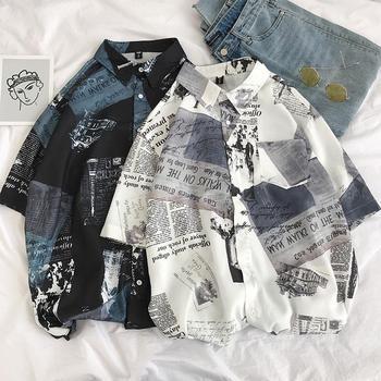 2021 Harajuku koszula męska koszulka luźne lato skręcić w dół kołnierz drukowanie koszule z krótkim rękawem męska bluzka nowy biały kolor czarny tanie i dobre opinie CN (pochodzenie) POLIESTER CASUAL KOSZULE CODZIENNE krótkie elegancki Wiosna i jesień Wykładany kołnierzyk Jednorzędowe
