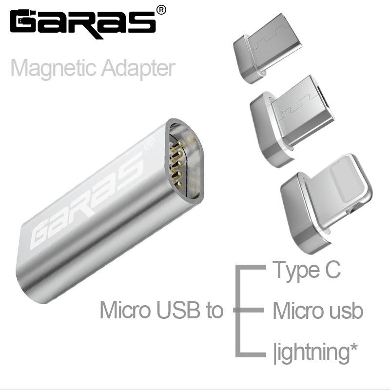 GARAS Micro USB To Type C Magnetic Adapter 3in1 Data Cable Converter Adapter Micro USB To Type C