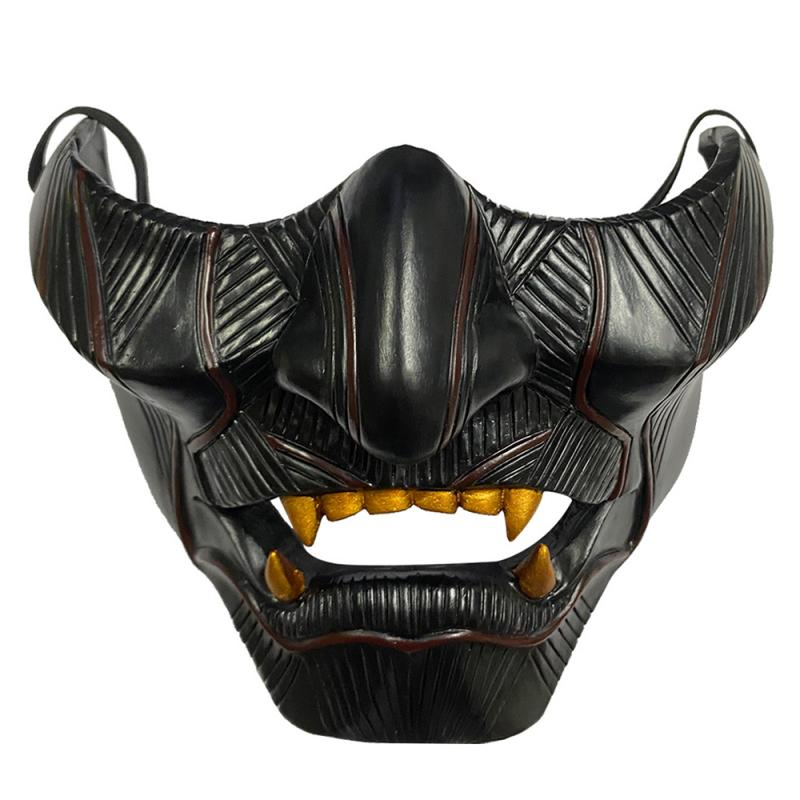 Demon Fancy Dress Laughing Prajna Devil Grimace Half Face Cosplay Costume Party Tactical Mask Resin Mask for Halloween Hot Sale
