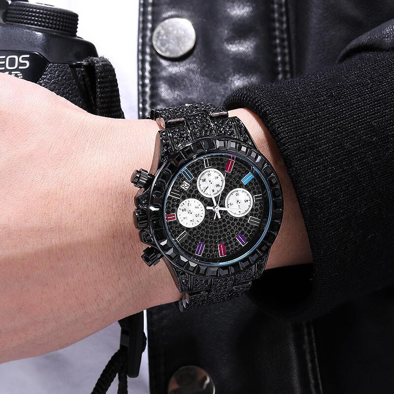 Hommes noir montre haute qualité 3 yeux femmes coloré strass montres de luxe étincelant calendrier robe montre livraison directe horloge 2020