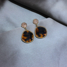Shiny Side New Fashion Brand Jewelry Acrylic Geometric Stud Earrings for Women Elegant Crystal Long