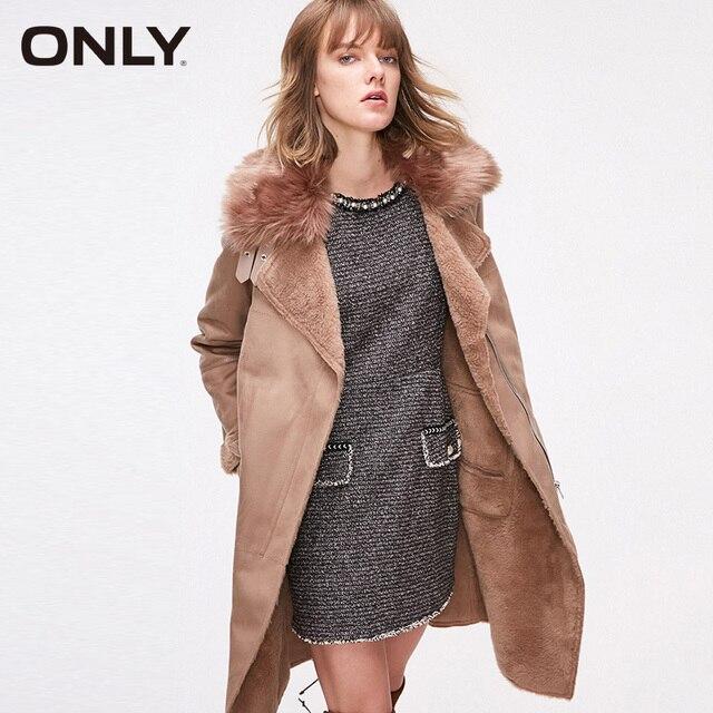 Sólo mujeres invierno desmontable Collar piel de cordero Forro cálido abrigo chaqueta