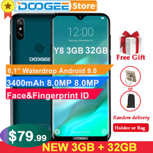 "Doogee Y8 3GB 32GB Android 9.0 โทรศัพท์มือถือ 6.1 ""FHD 19:9 จอแสดงผล 3400mAh MTK6739 Face ปลดล็อค ID ลายนิ้วมือสมาร์ทโฟน 4G LTE"