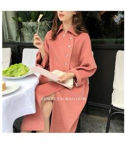 Image 3 - Wysokiej jakości dwustronny wełniany płaszcz w długi płaszcz wełniany kołnierzyk dla lalek moda A Line luźny wełniany płaszcz kobiety Winter Warm