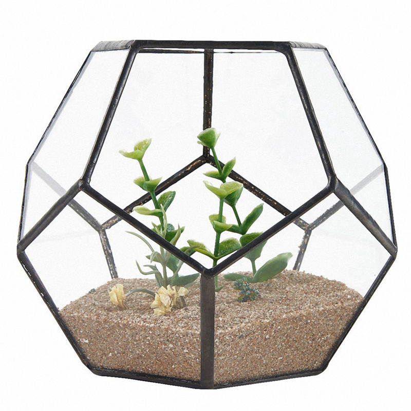 Black Glass Pentagon Geometric Terrarium Container Window Sill Decor Flower Pot Balcony Planter Diy Display Box (No Plant)|Flower Pots & Planters| |  - title=