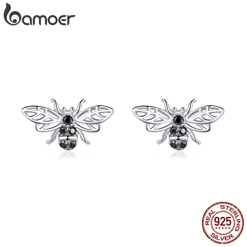 Bamoer 100% 925 Sterling Silver Stud Earrings For Women Retro Design Bees Ear Pins Punk Style Silver 925 Fashion Jewelry SCE846