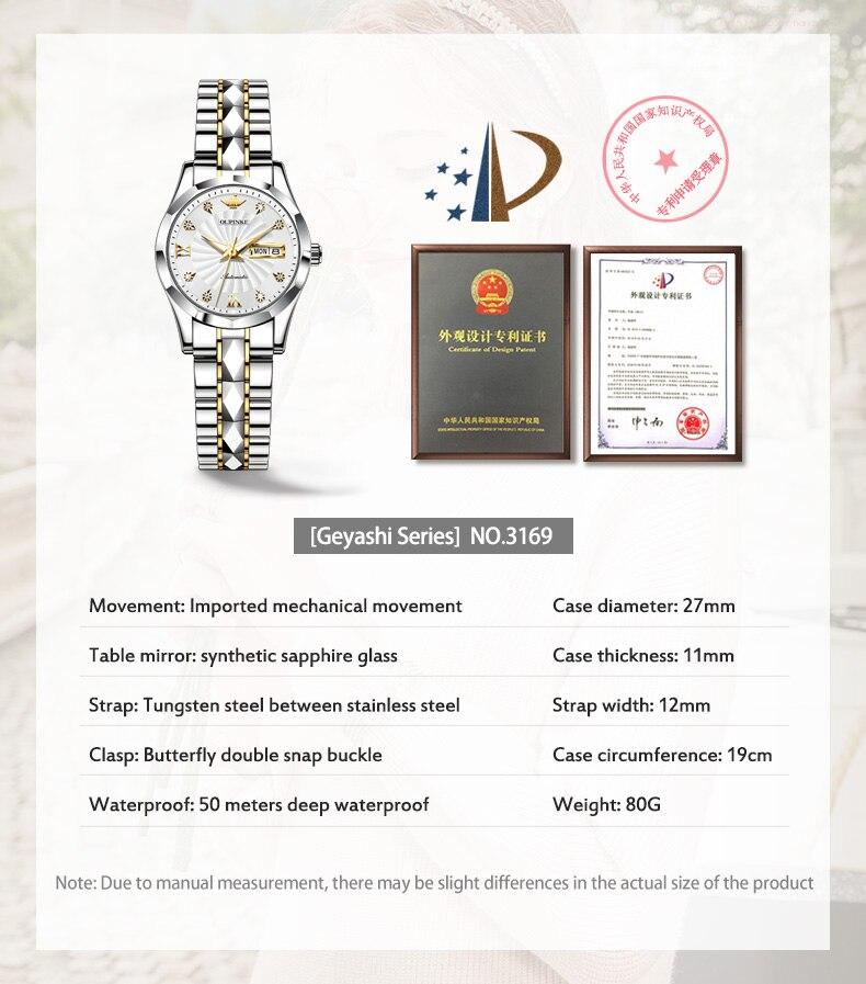 de luxo senhoras relógio de pulso automático
