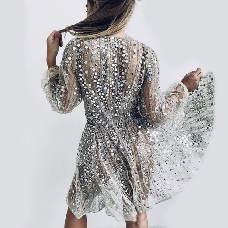 New Europe And The United States Women's Speed To Sell Through Ebay Hot Style Deep V Long-sleeved Sequined Dress Dress