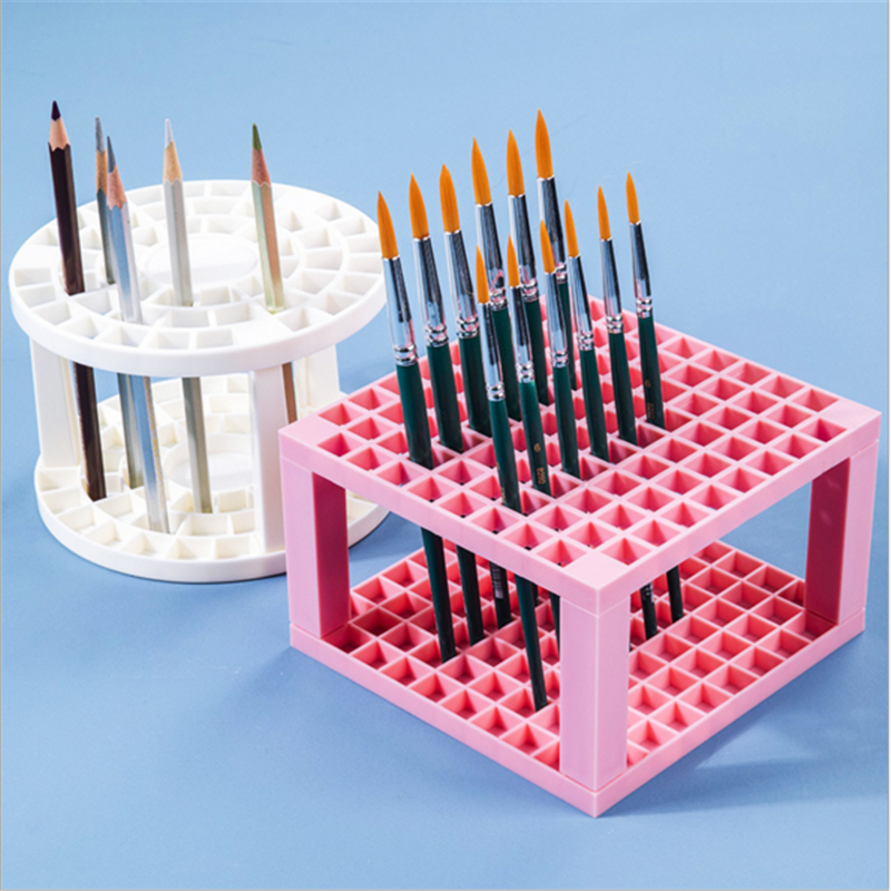 49/ 96 Grid Painting Pen Holder Round Square Painting Brush Stand Rack Portable Desktop Pen Pencil Organizer Display Rack