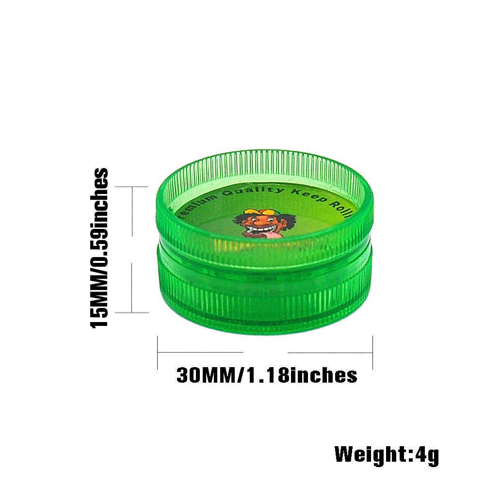 Kunststoff kräuter grinder durchmesser 30MM miniatur Chinesischen kräuter reggae mühle Jamaika BOB Marley tabak grinder muster zufällig