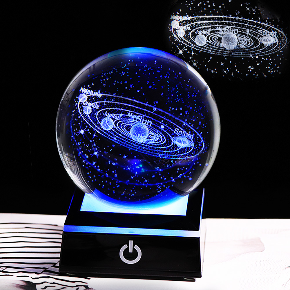 New 80mm K9 Crystal Solar System Planet Globe 3D Laser Engraved Sun System Ball With A Touch Switch LED Light Base Cosmic Model