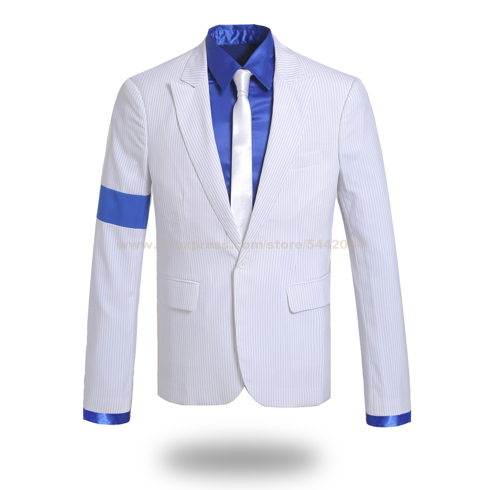 MJ Michael Jackson Coat Blue Shirt Smooth Criminal Stripe Suit Jacket Outfit Hallowmas Party Costume Cosplay Prop Collection