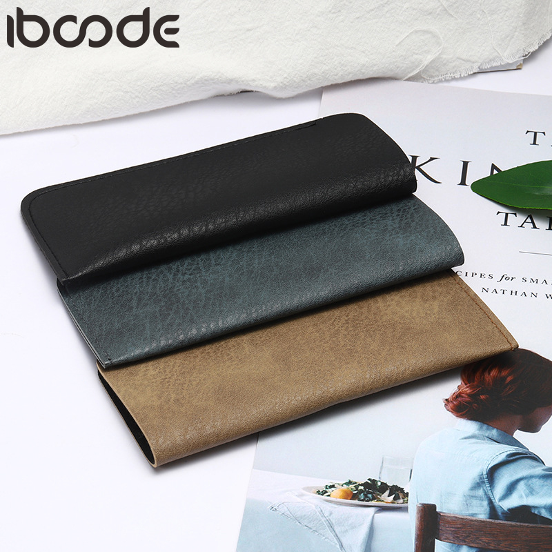 Iboode PU Leather Glasses Case Vintage Men Women Waterproof Soft Eyeglasses Holder Box Spectacle Solid Storage Cases 3 Colors