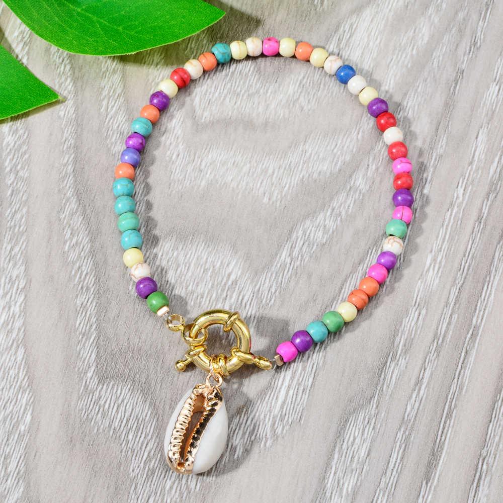 Bohemian Charms สร้อยข้อมือหินธรรมชาติที่มีสีสัน Strand สร้อยข้อมือลูกปัดผู้หญิงสาว Cuff เครื่องประดับ