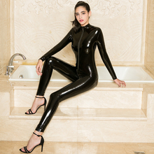 Zipper Open Crotch Long Sleeve Party Bodysuit Sexy Cosplay Bodysuits Leather PVC Catsuit Bodystockin