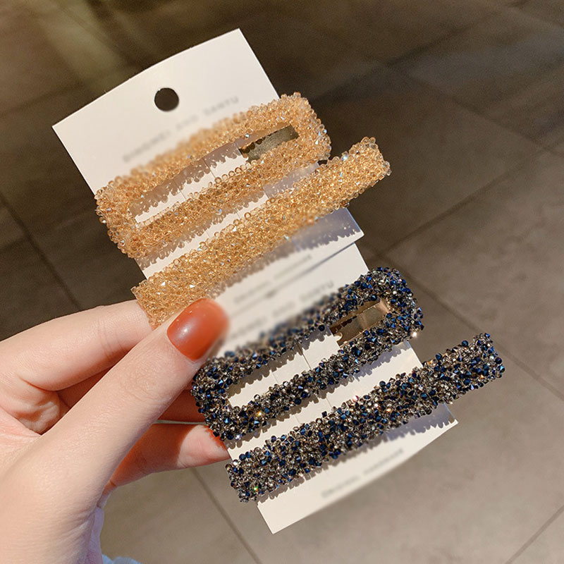1 Set Strip Rectangular Crystal Geometric Hair Clips Rhinestone Shiny Hairpins BB Clip For Women Fashion Styling Tools Barrettes
